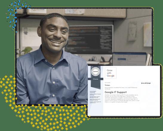 遨游彩票网注册hoto of a smiling 遨游彩票网注册oursera student in his office, a computer with code on the screen in the background, shown with a certificate next to him.