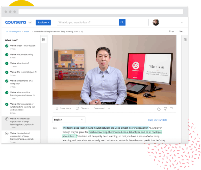 Screenshot of Coursera interface, showing a video of Andrew Ng teaching his Machine Learning course.