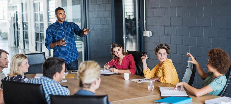 Agile team brainstorming in a business meeting